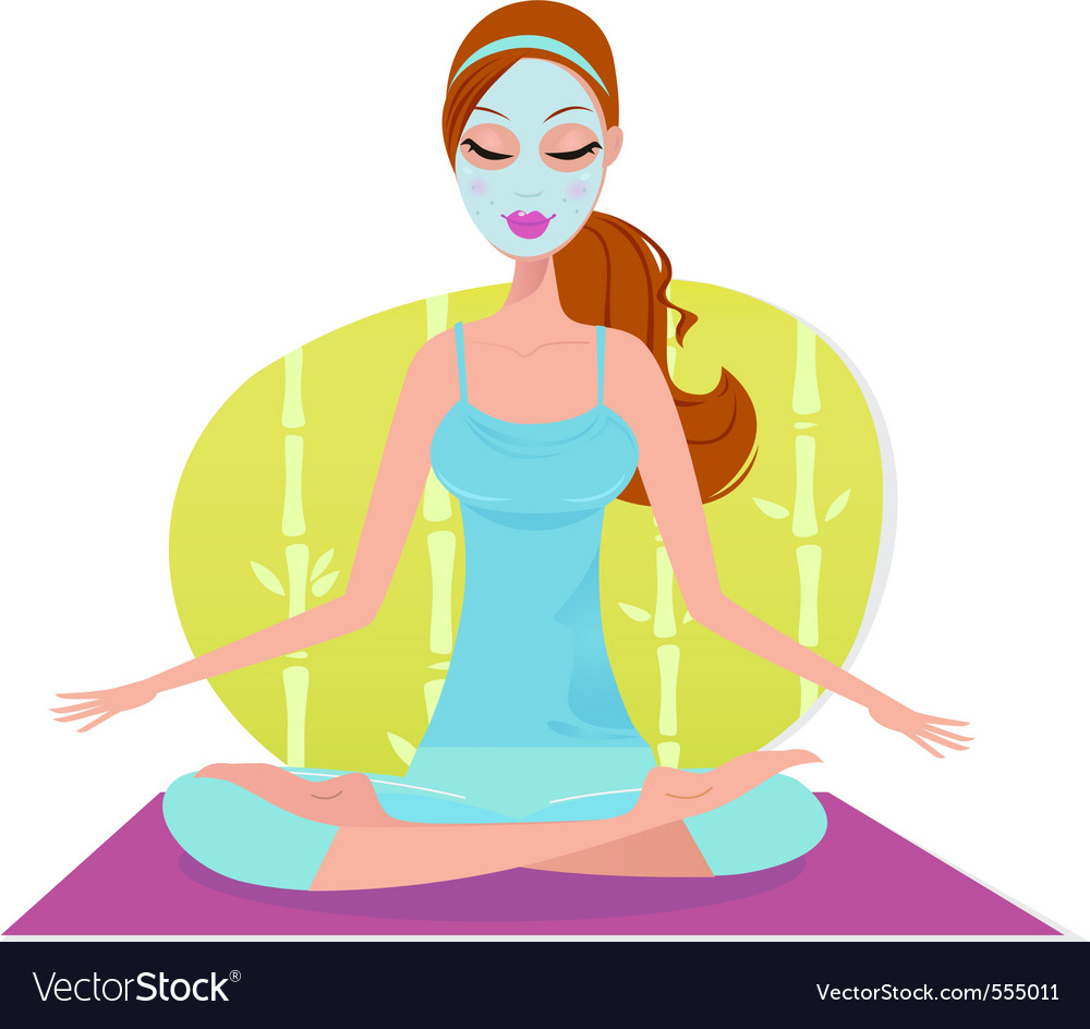 Beautiful meditating yoga woman with facial mask vector | Price: 1 Credit (USD $1)