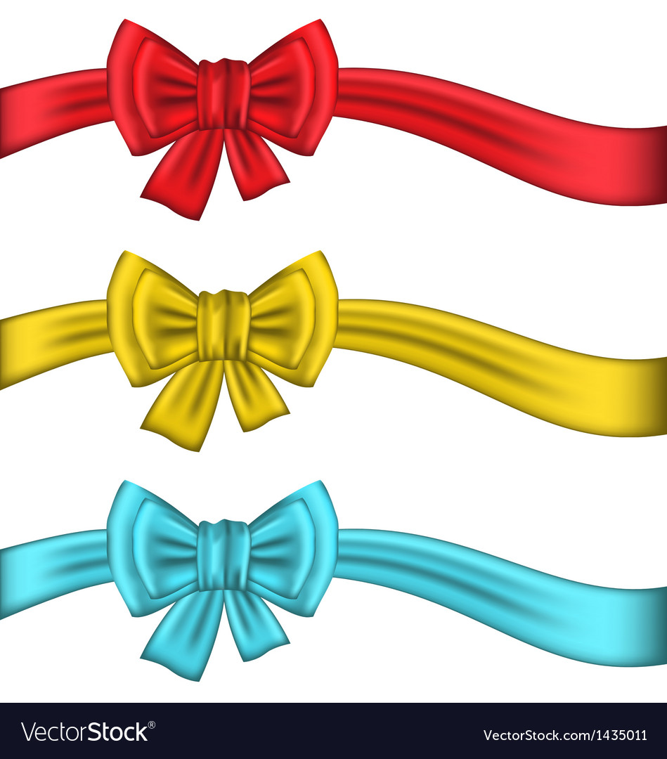 Collection colorful gift bows with ribbons vector | Price: 1 Credit (USD $1)