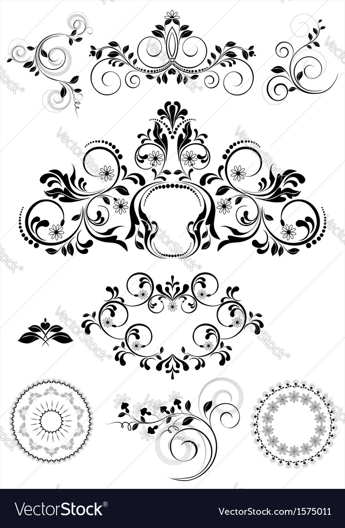 Collection of patterns and round frames vector | Price: 1 Credit (USD $1)