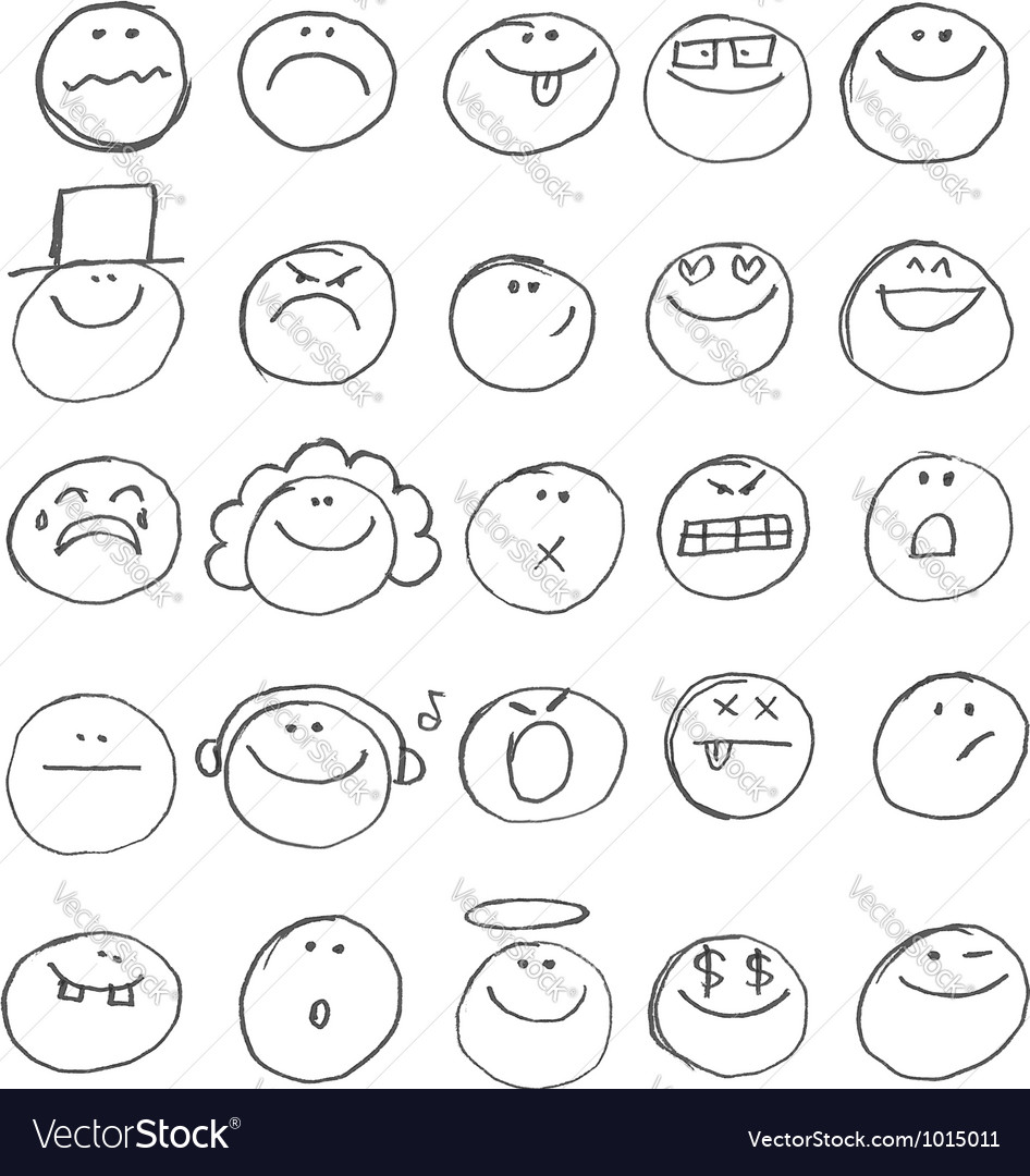 Emoticon doodles vector | Price: 1 Credit (USD $1)