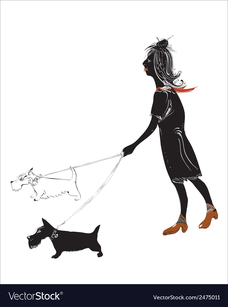 Girl with a dog vector | Price: 1 Credit (USD $1)
