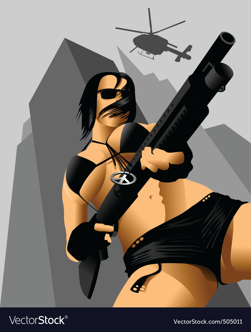 Gun and a girl vector | Price: 3 Credit (USD $3)