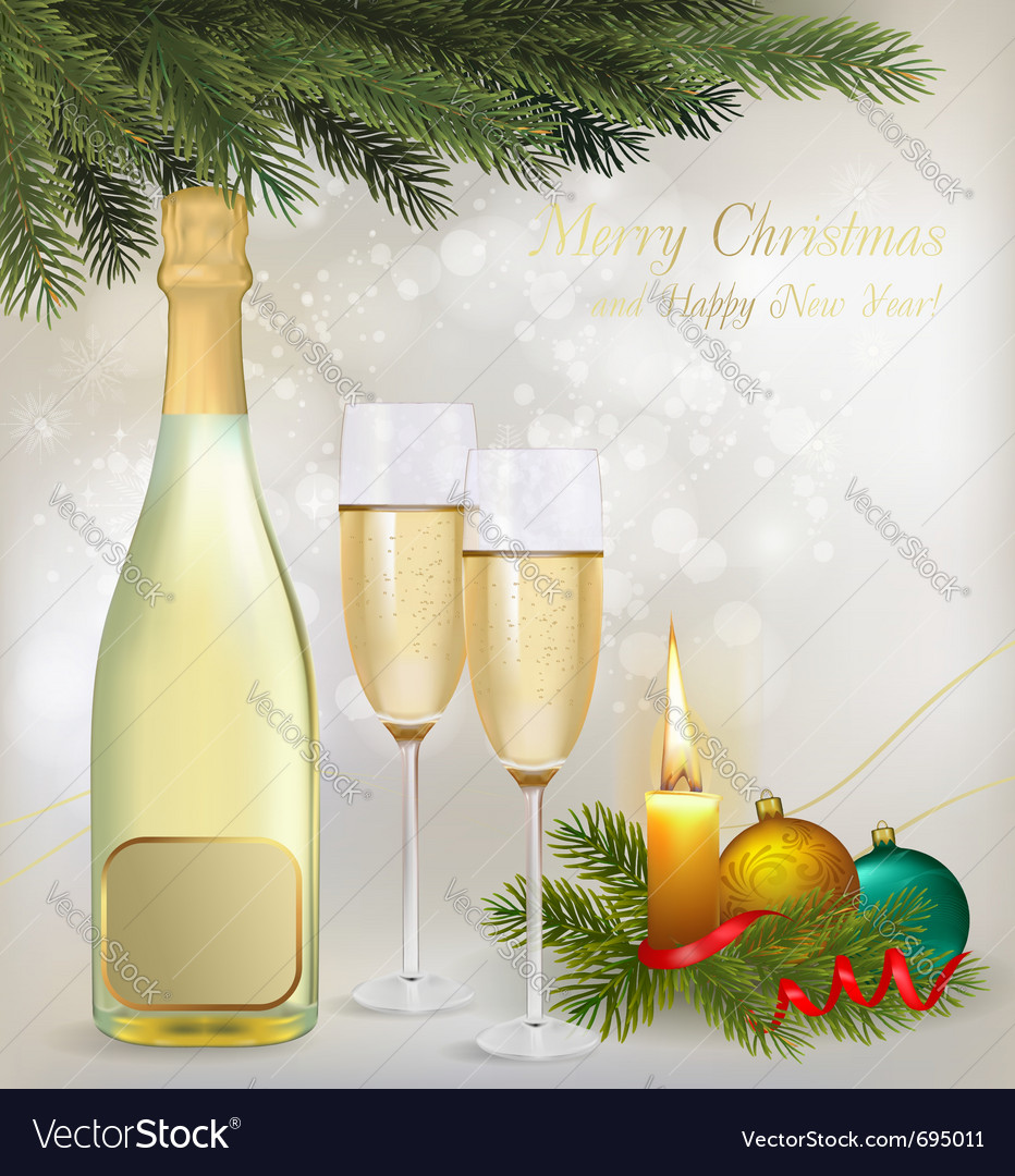 Holiday background with two glasses of champagne vector | Price: 3 Credit (USD $3)