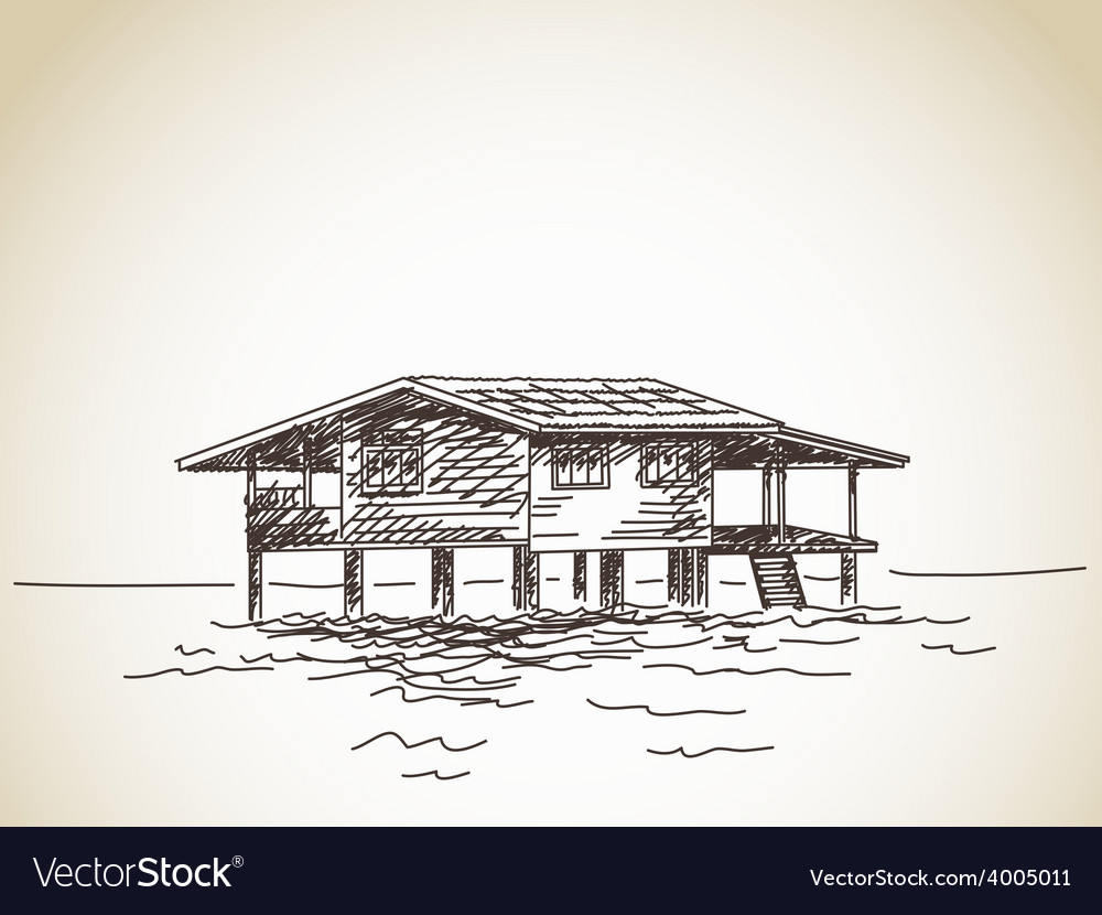 House on stilts on water vector | Price: 1 Credit (USD $1)