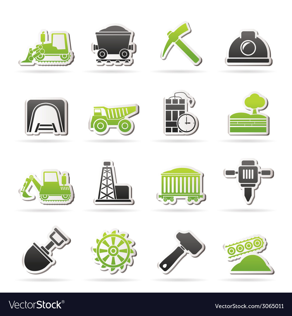 Mining and quarrying industry icons vector | Price: 1 Credit (USD $1)