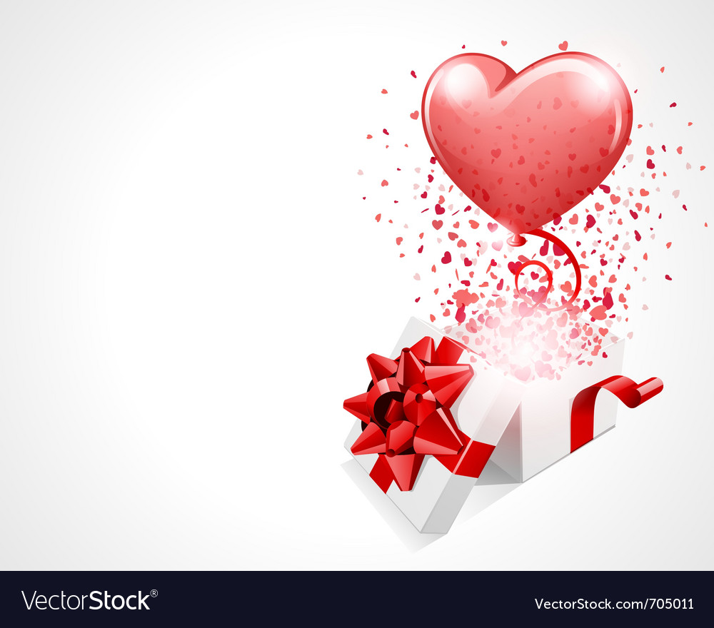 Open gift present box with fly hearts and balloon vector | Price: 1 Credit (USD $1)