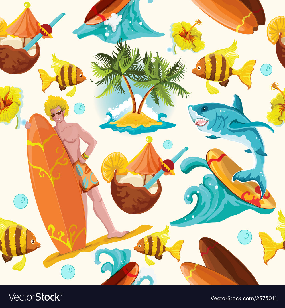 Surfing seamless background vector | Price: 1 Credit (USD $1)