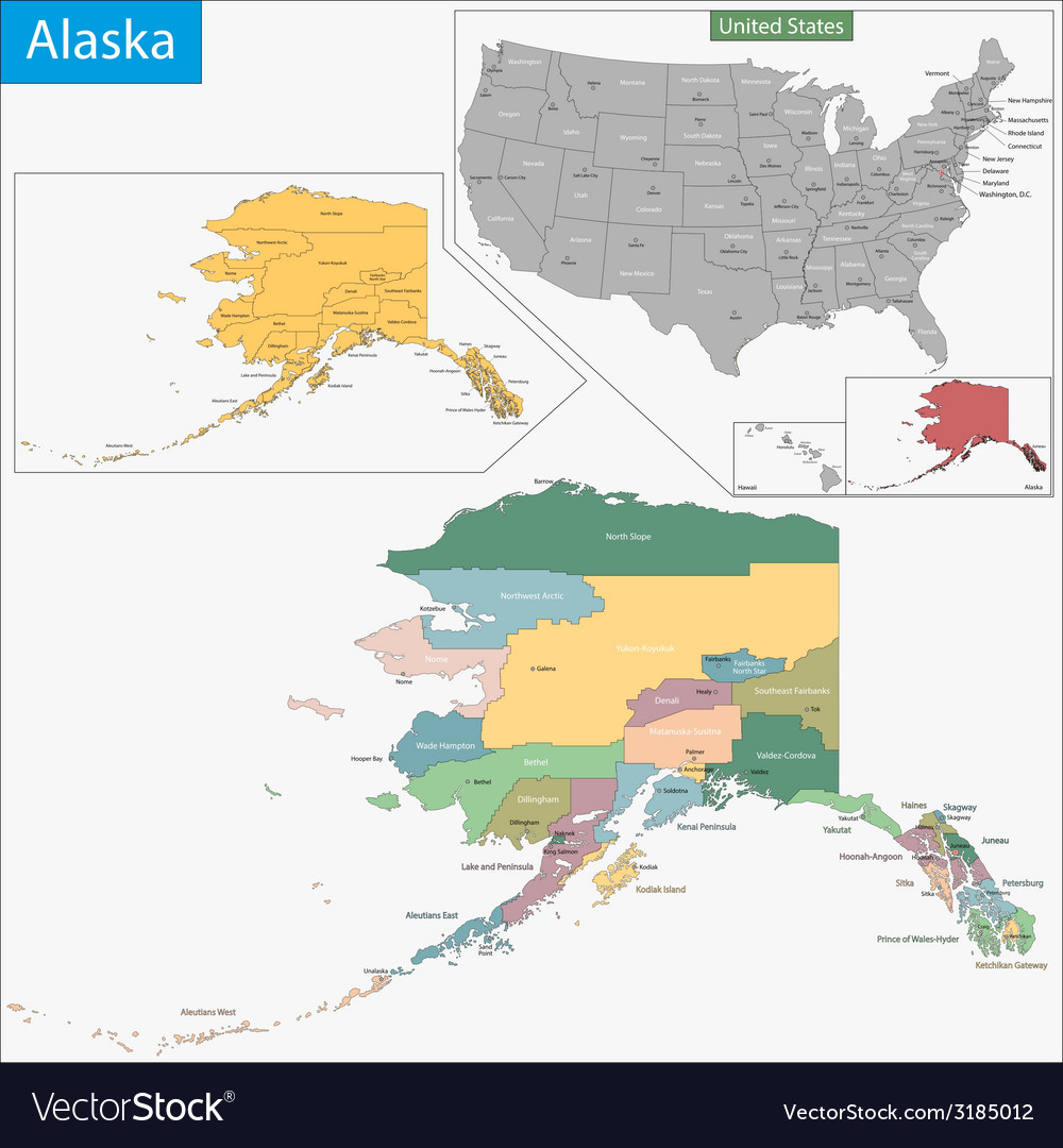 Alaska map vector | Price: 1 Credit (USD $1)