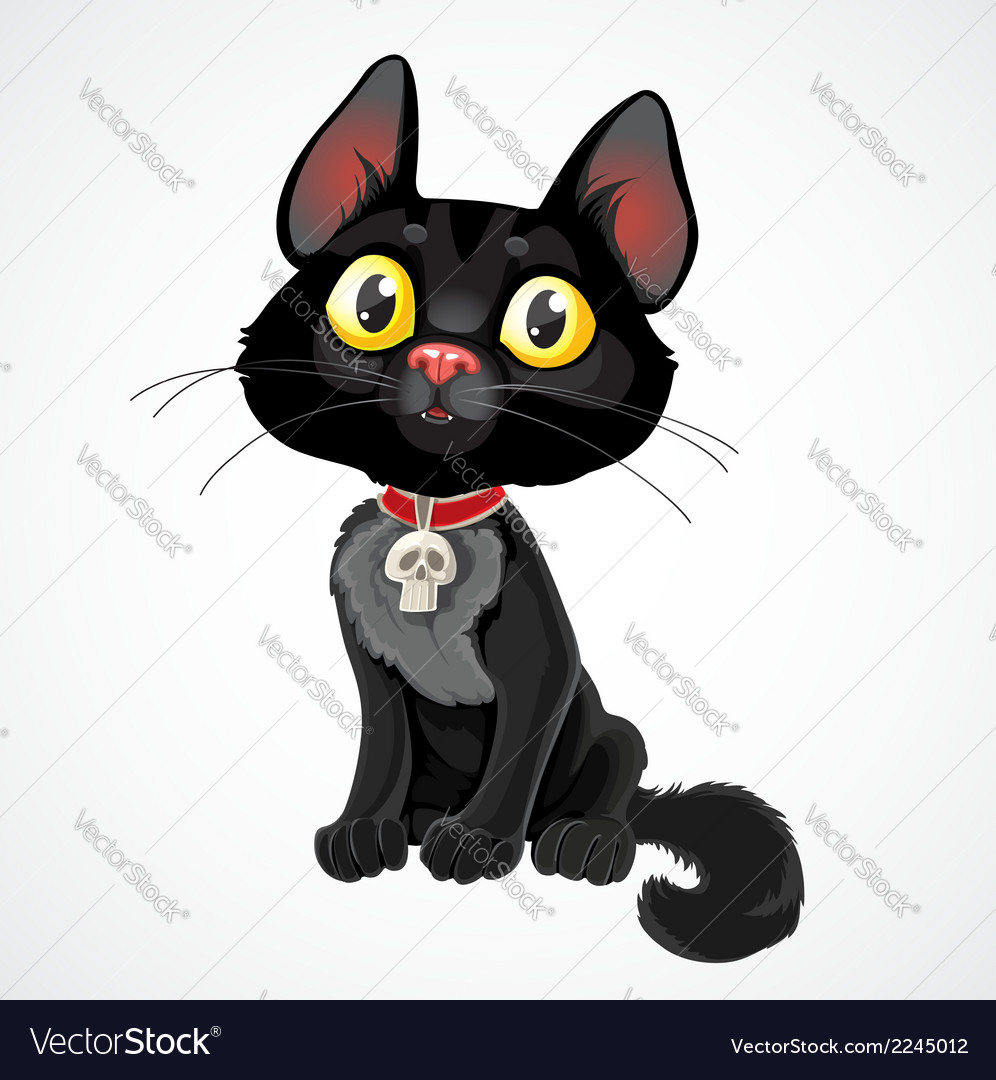 Black kitten in collar with pendant-skull vector | Price: 1 Credit (USD $1)