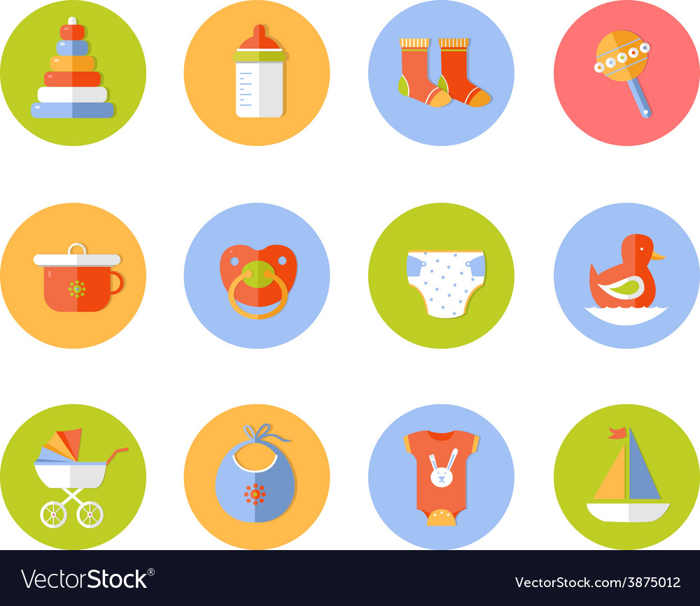 Card with colorful baby icons vector | Price: 1 Credit (USD $1)