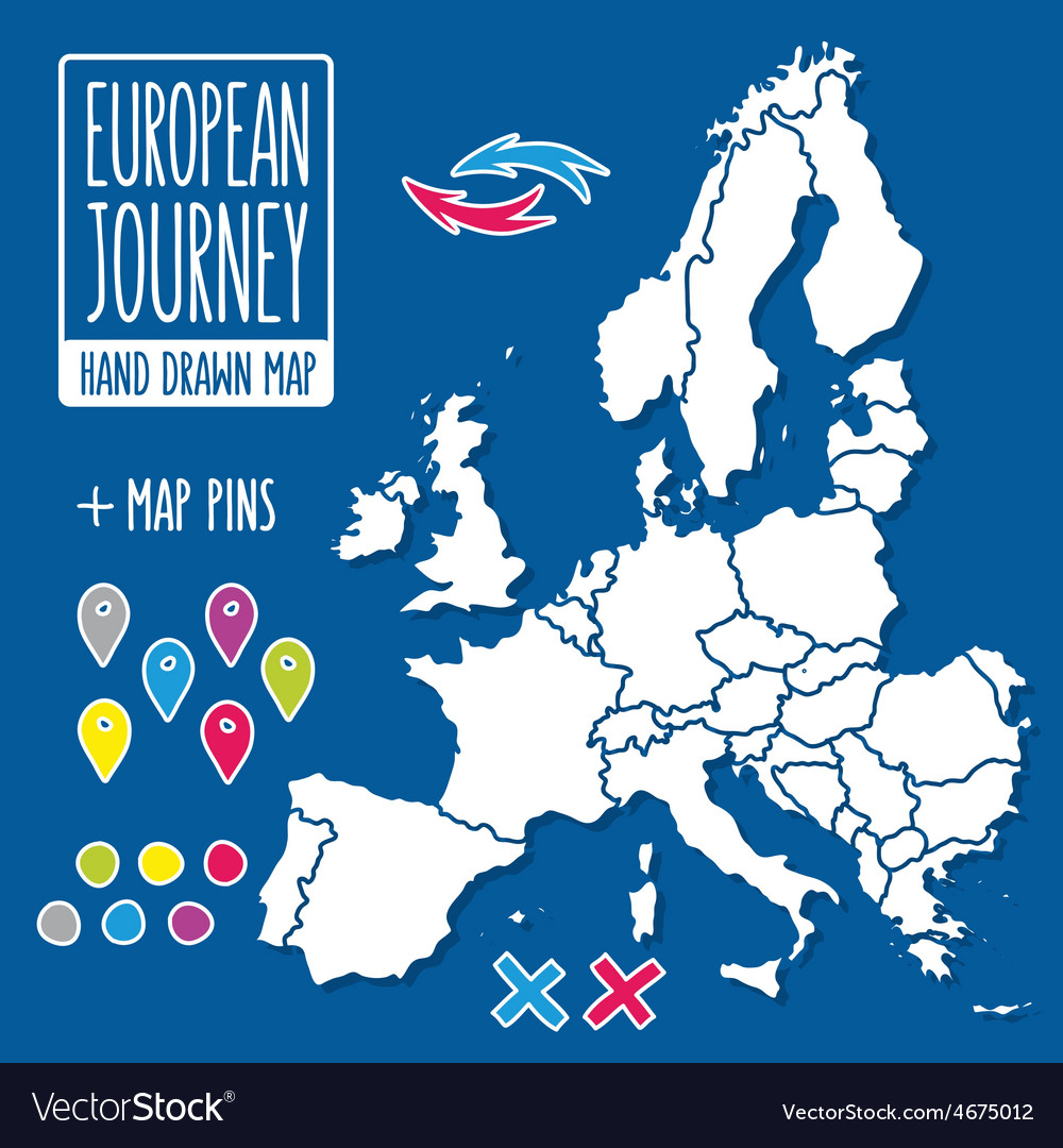 Cartoon style hand drawn journey map of europe vector | Price: 1 Credit (USD $1)