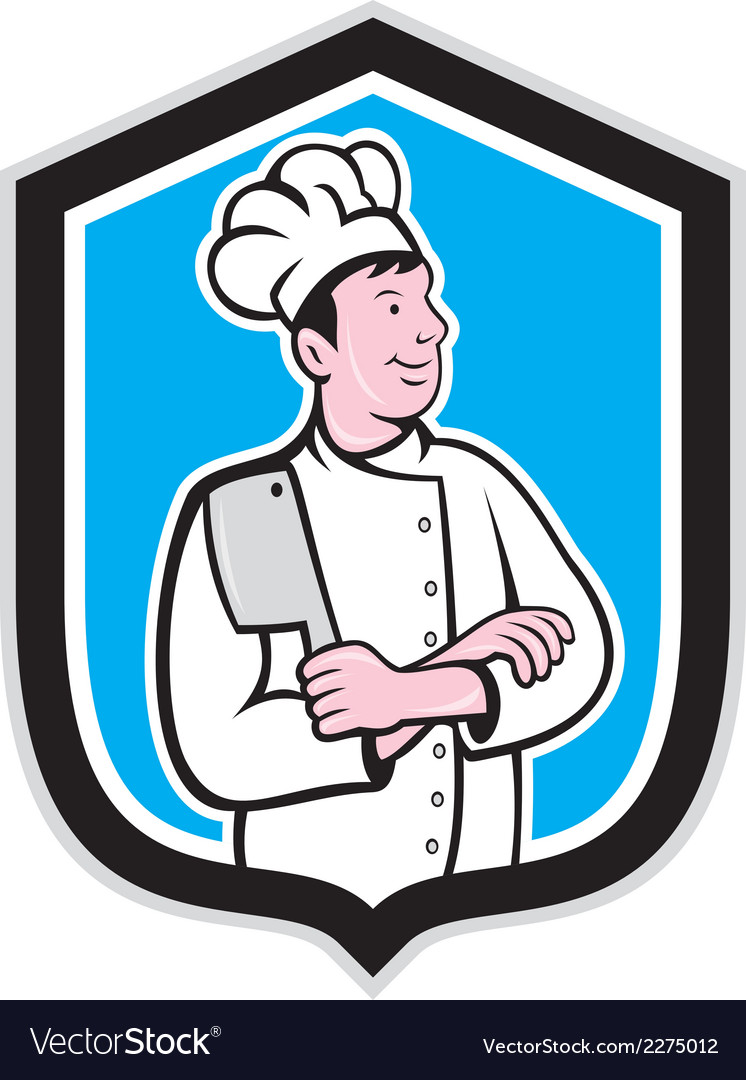 Chef cook holding knife arms crossed cartoon vector | Price: 1 Credit (USD $1)