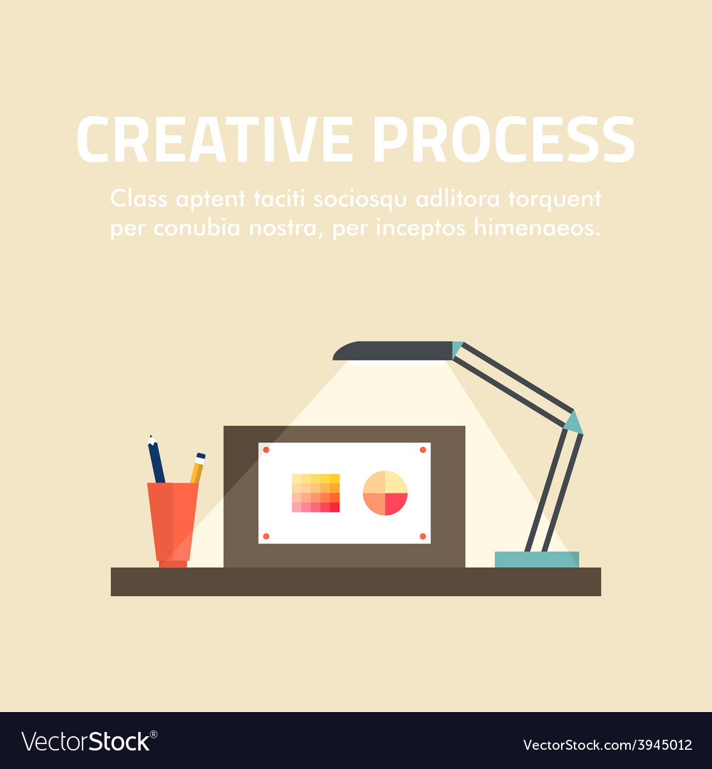 Flat design concept for creative process fo vector | Price: 1 Credit (USD $1)