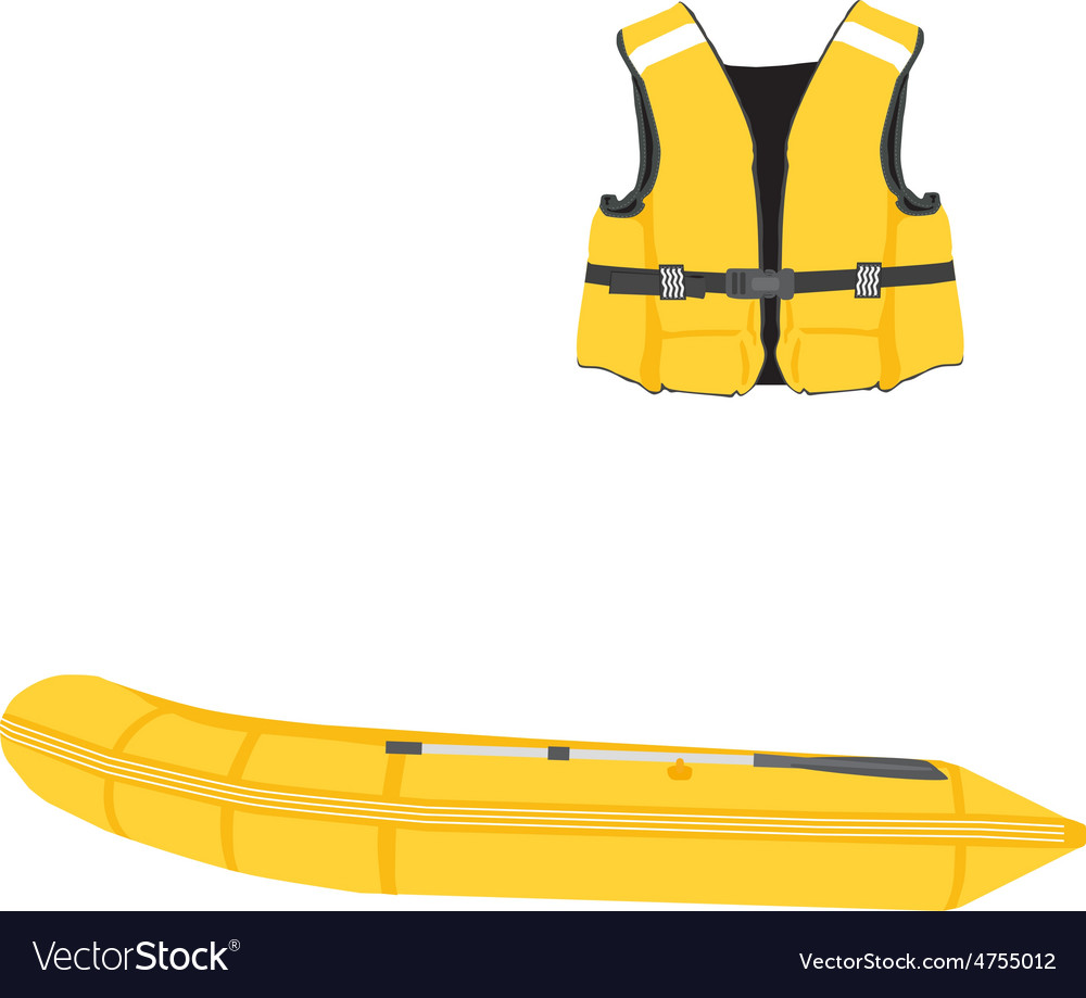 Inflatable boat and life vest vector | Price: 1 Credit (USD $1)