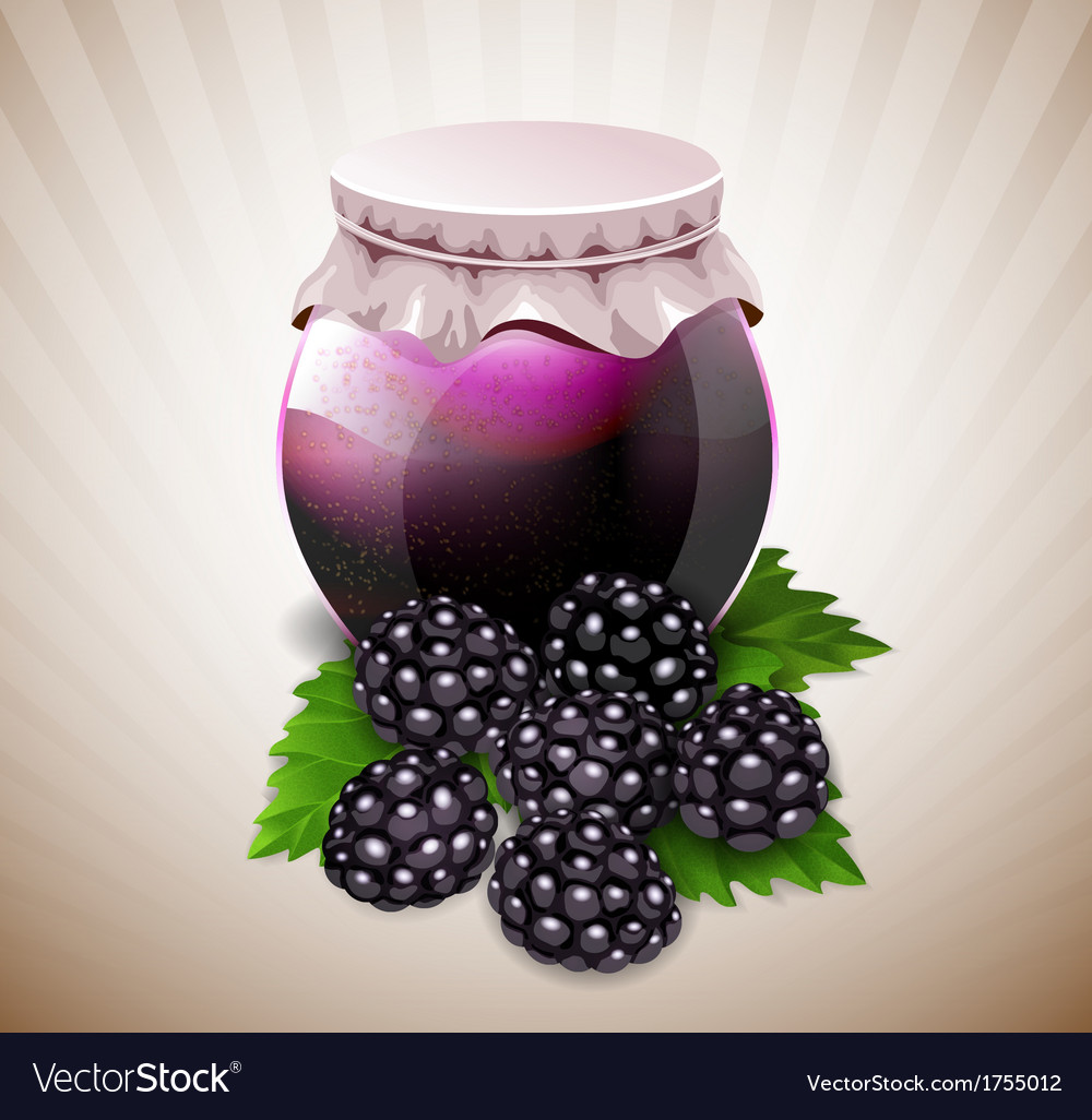Jar of jam with blackberry and leaves vector | Price: 1 Credit (USD $1)