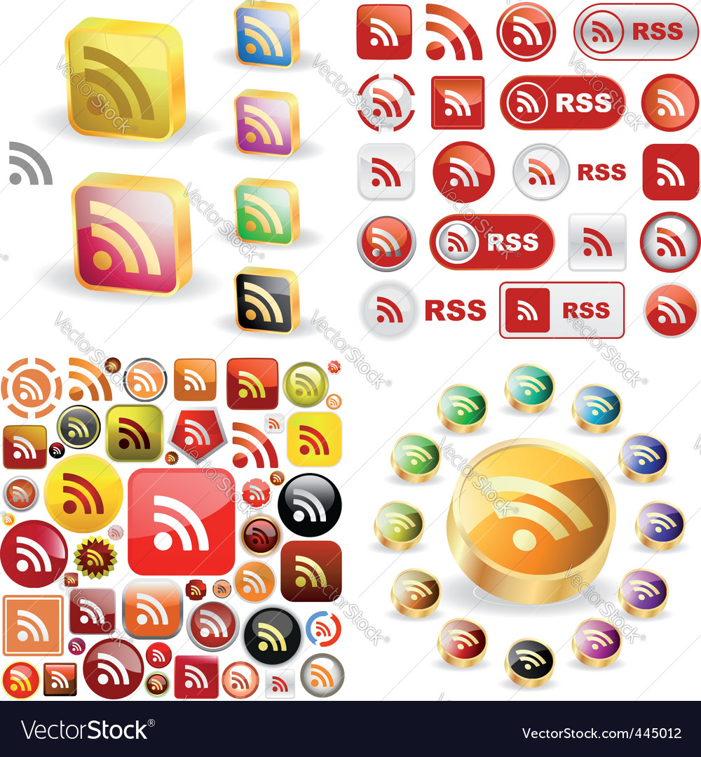 Rss glossy buttons vector | Price: 1 Credit (USD $1)