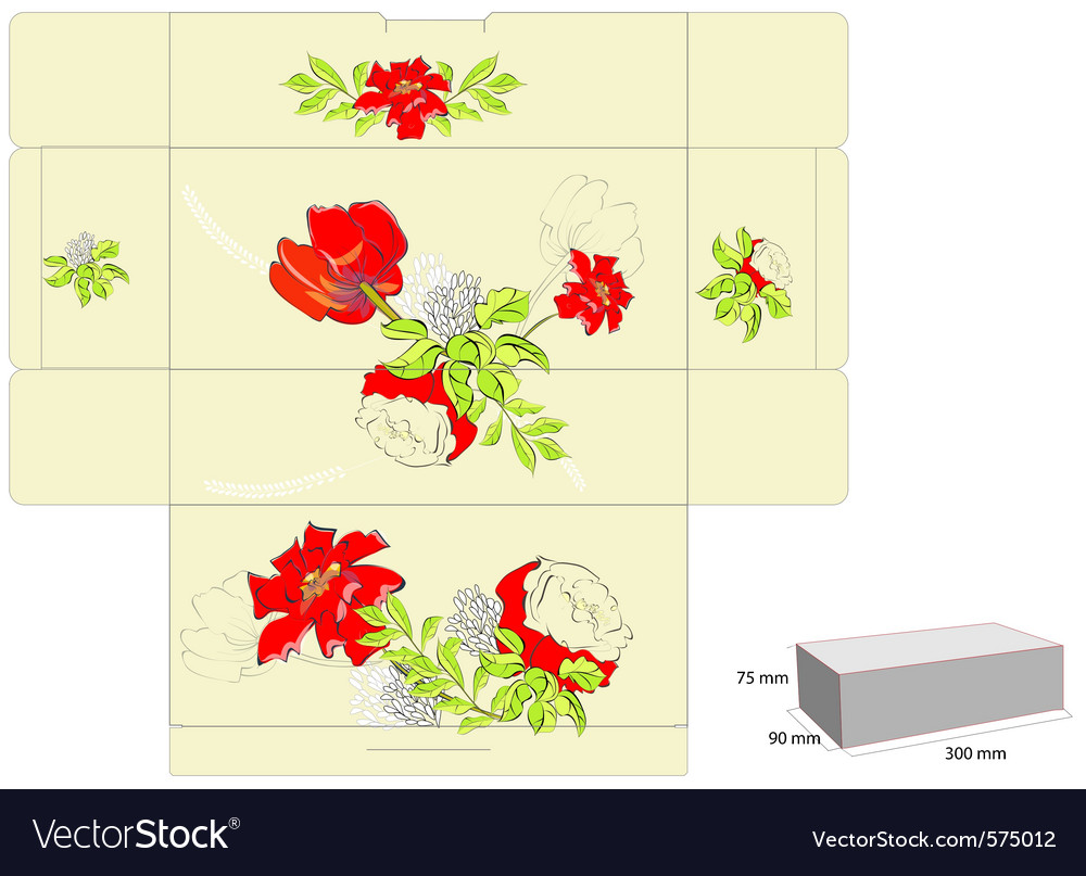 Stylized template for box with flowers vector | Price: 1 Credit (USD $1)