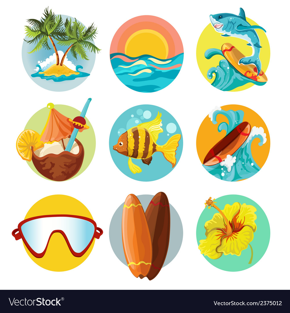 Surfing icons set vector | Price: 1 Credit (USD $1)
