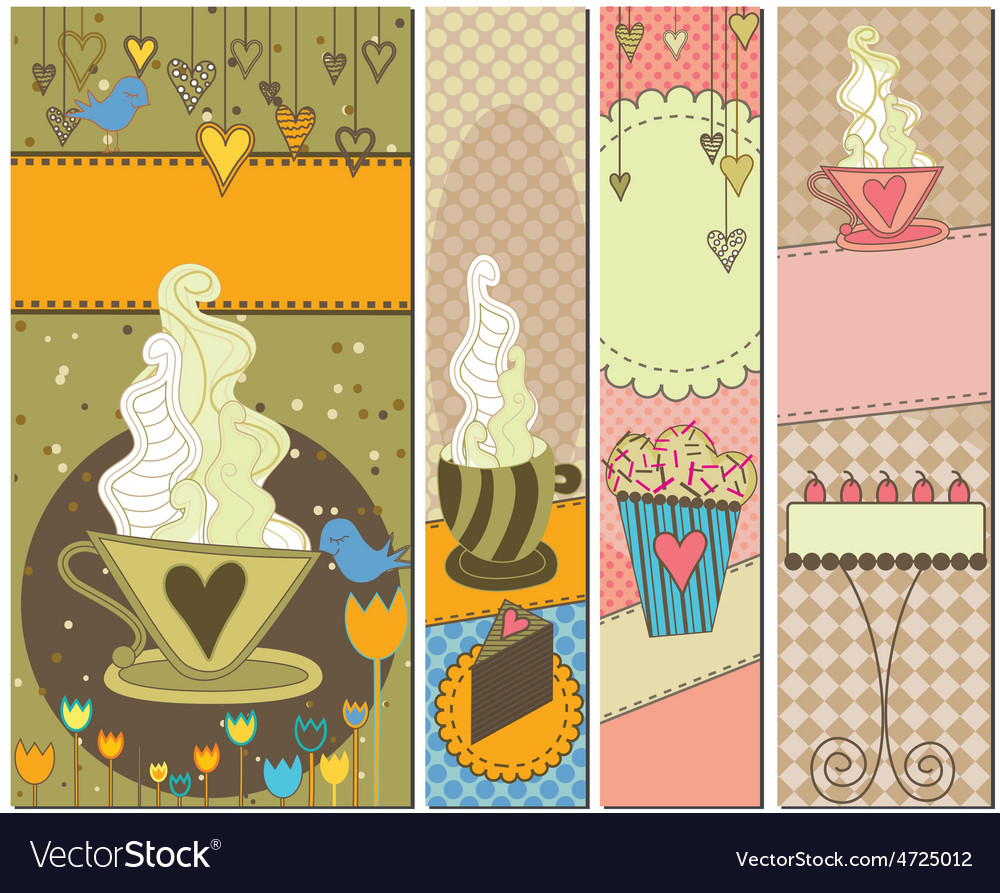 Sweet dessert and coffee banners vector | Price: 1 Credit (USD $1)