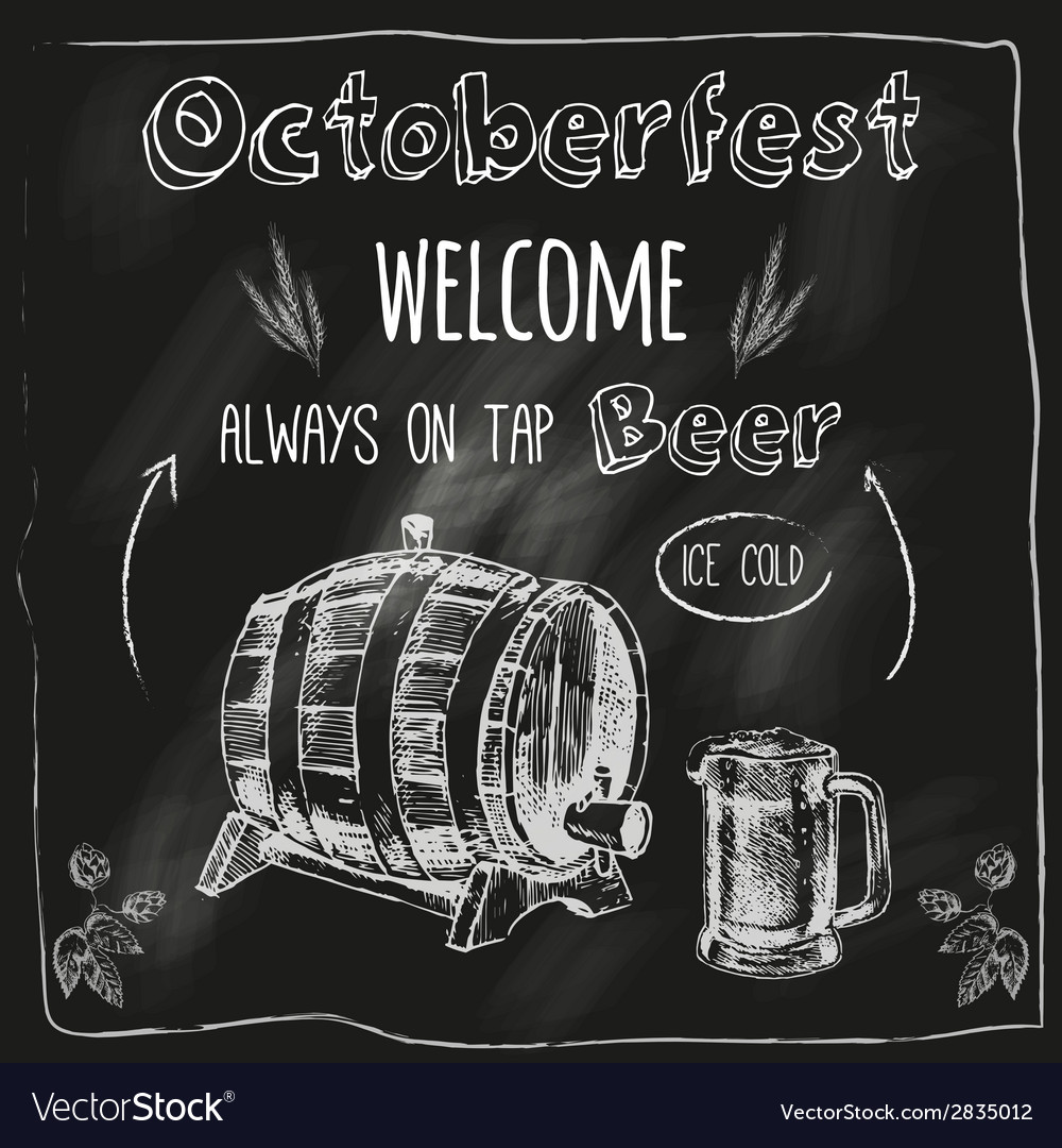 Tap beer design blackboard placard vector | Price: 1 Credit (USD $1)