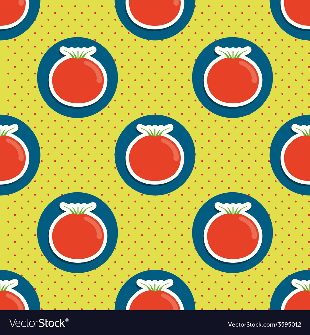 Tomato pattern seamless texture with ripe red vector   Price: 1 Credit (USD $1)