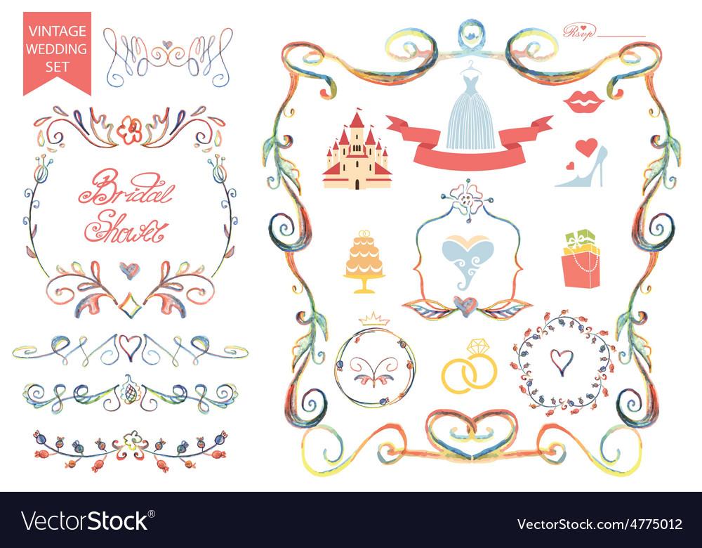 Vintage wedding floral doodle decoricons set vector   Price: 1 Credit (USD $1)