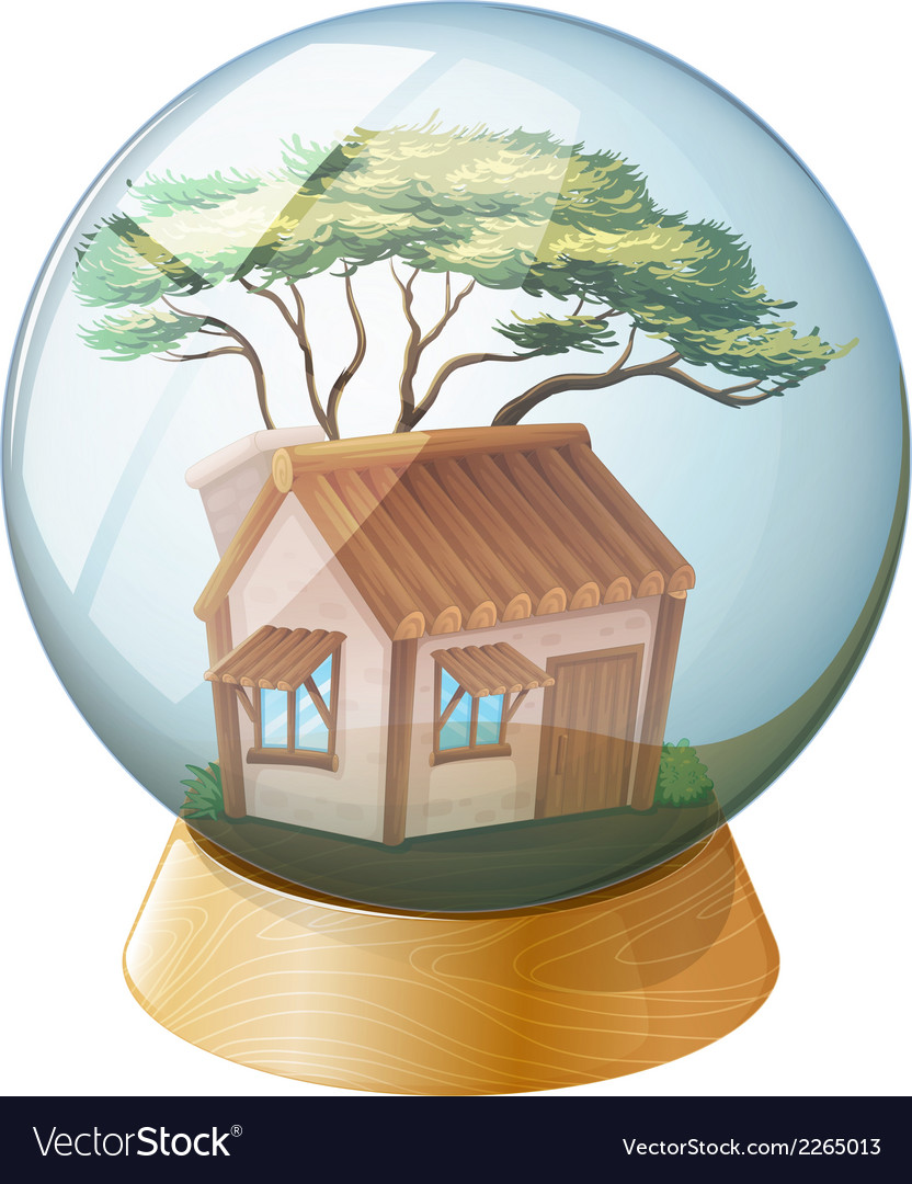 A crystal ball decor with a wooden house inside vector | Price: 1 Credit (USD $1)