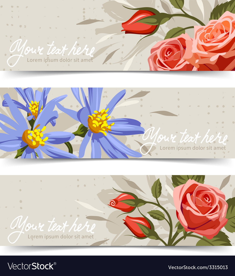 Banner with flowers 3 vector | Price: 3 Credit (USD $3)