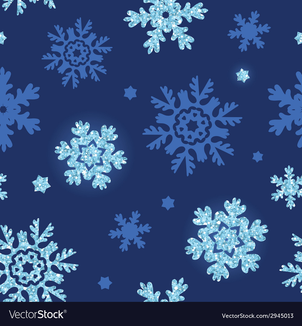 Glitter snowflakes dark seamless pattern vector | Price: 1 Credit (USD $1)