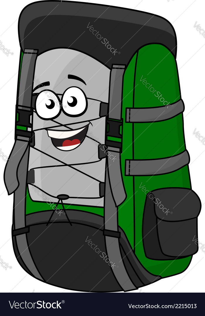 Green cartoon rucksack or backpack vector | Price: 1 Credit (USD $1)