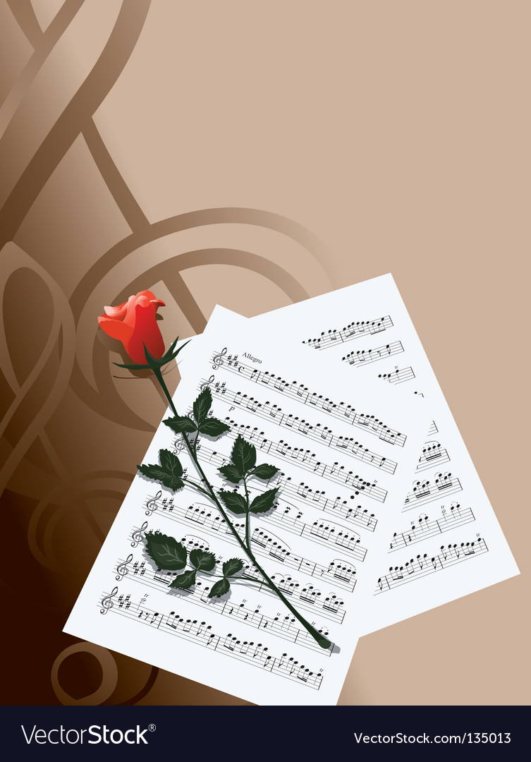 Rose and music vector | Price: 1 Credit (USD $1)