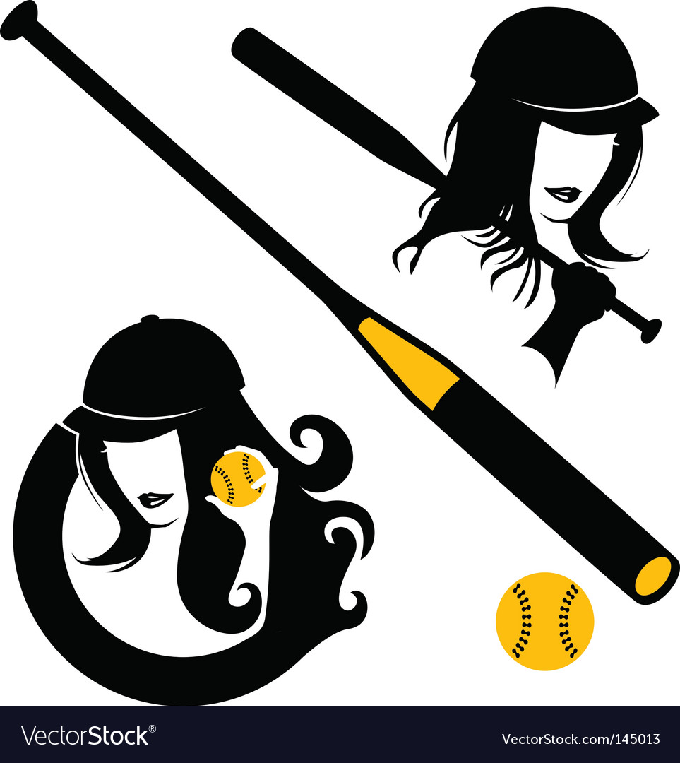 Softball elements vector | Price: 1 Credit (USD $1)