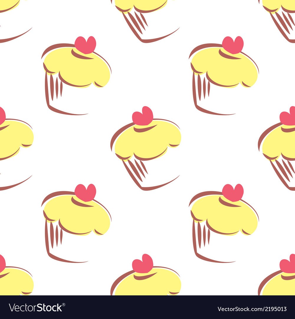 Tile pattern with lemon yellow cupcakes vector | Price: 1 Credit (USD $1)