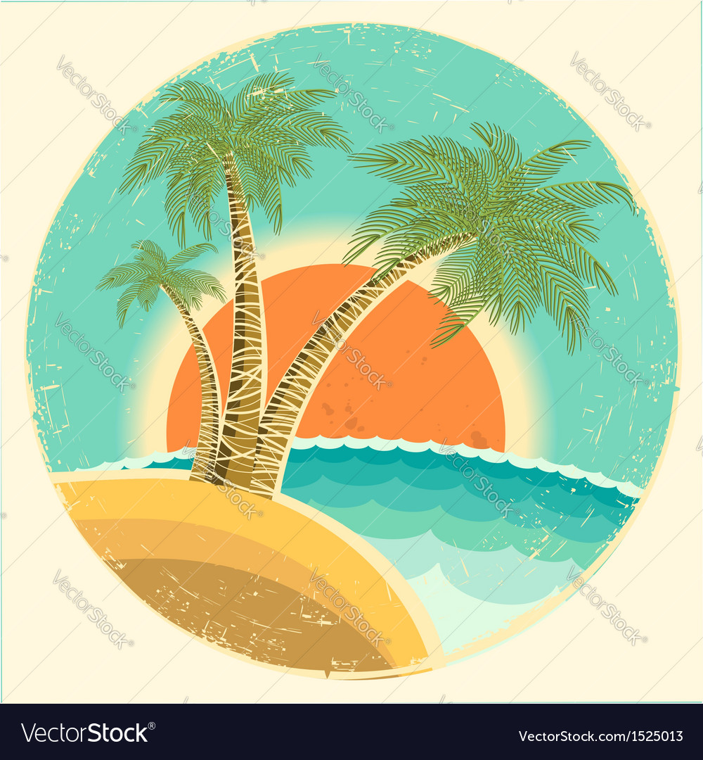 Vintage exotic tropical island vector | Price: 1 Credit (USD $1)