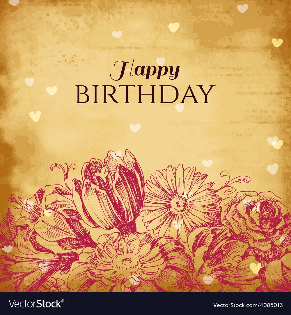 Vintage floral background birthday card vector | Price: 1 Credit (USD $1)