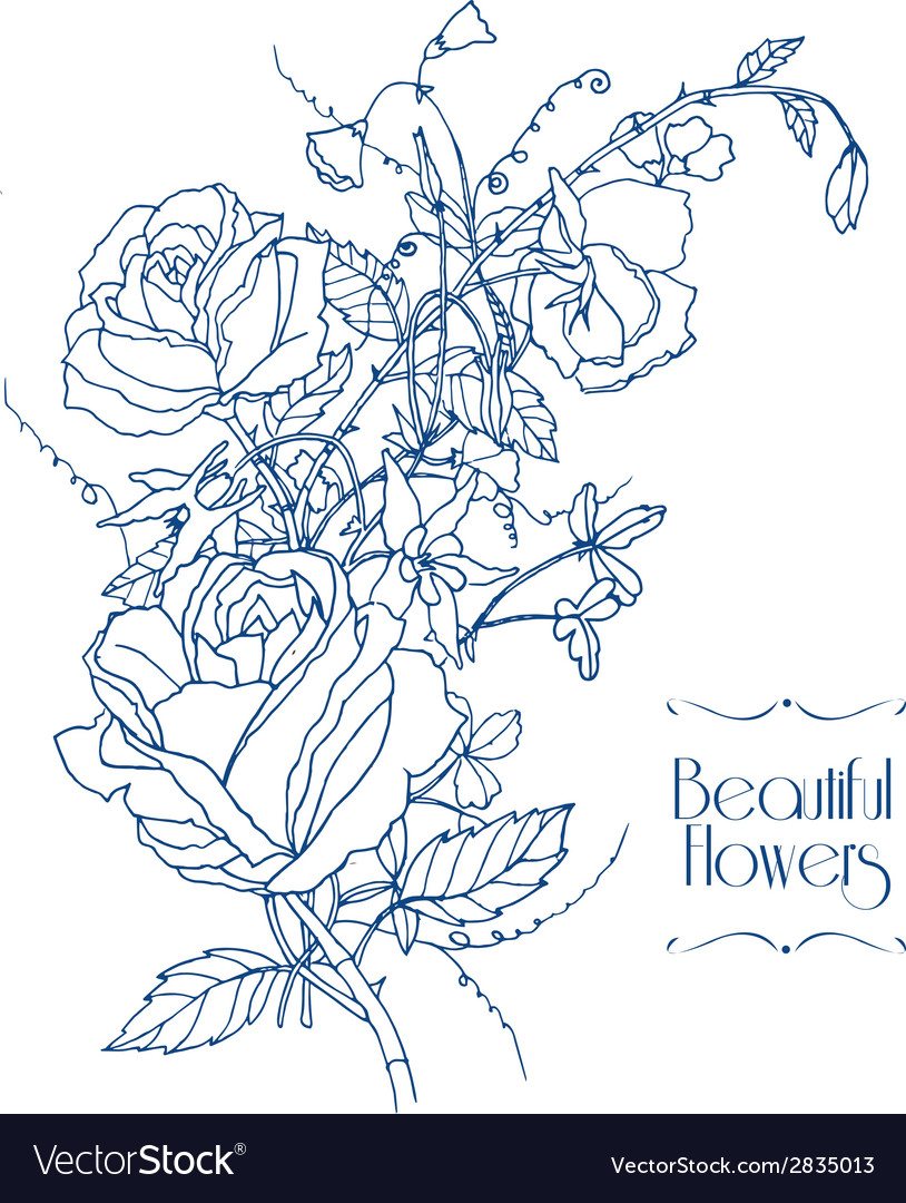 Vintage flowers sketch vector | Price: 1 Credit (USD $1)