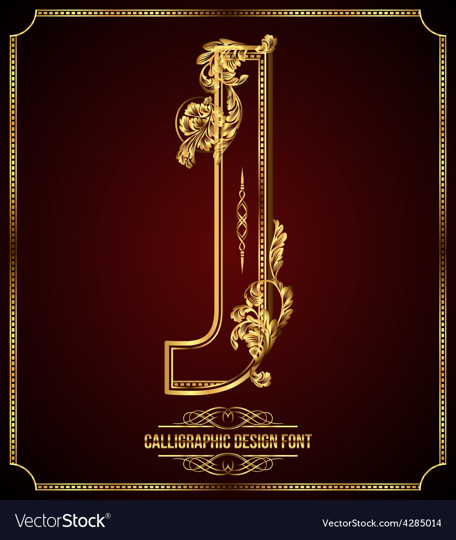 Calligraphic font letter j vector | Price: 3 Credit (USD $3)