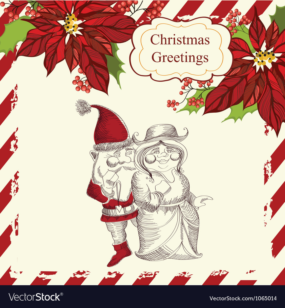Christmas with santa claus and his girlfriend vector | Price: 1 Credit (USD $1)
