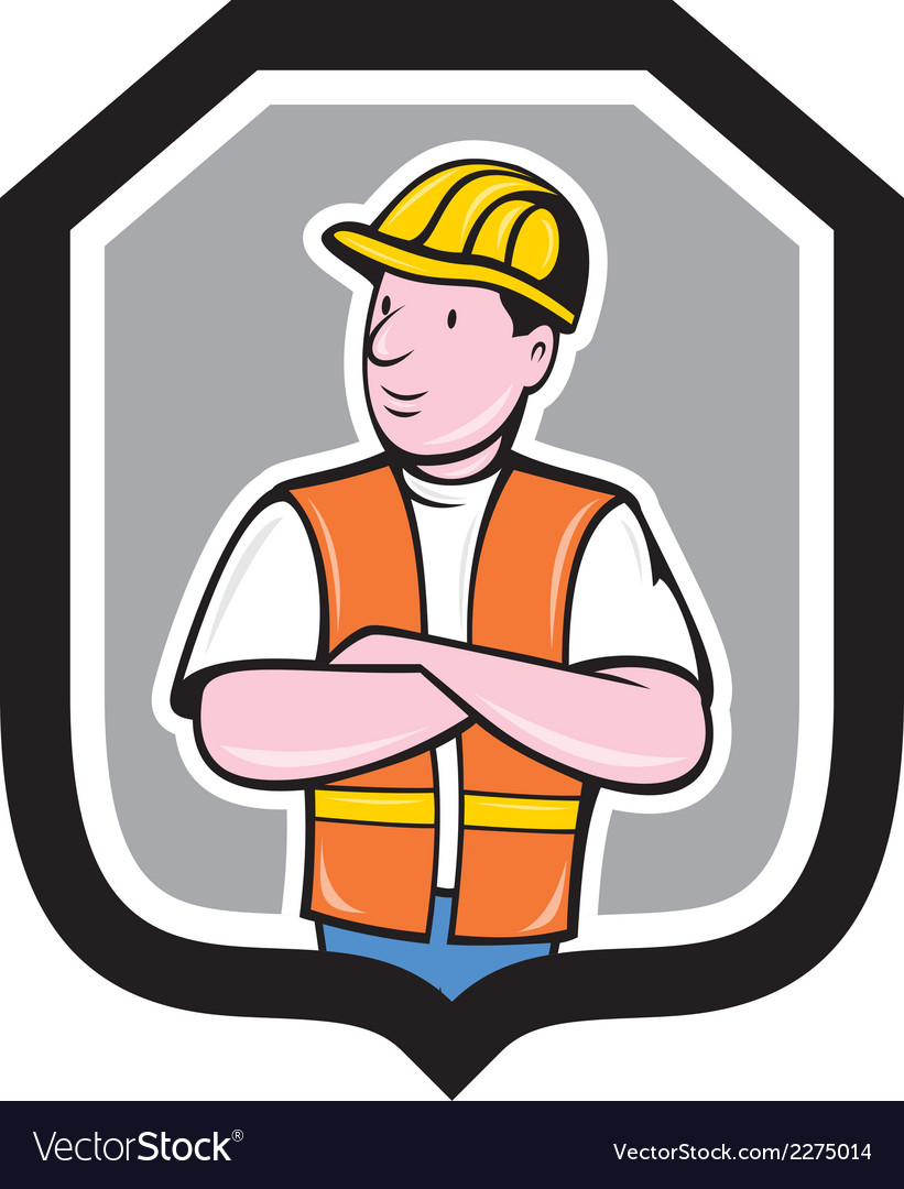 Construction worker arms crossed shield cartoon vector | Price: 1 Credit (USD $1)