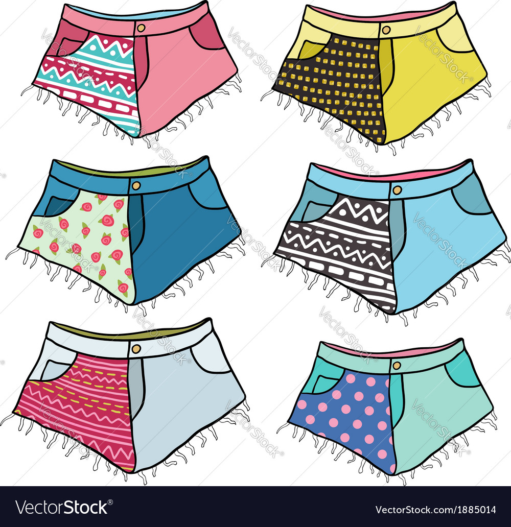 Cute cartoon hipster studded shorts set vector | Price: 1 Credit (USD $1)