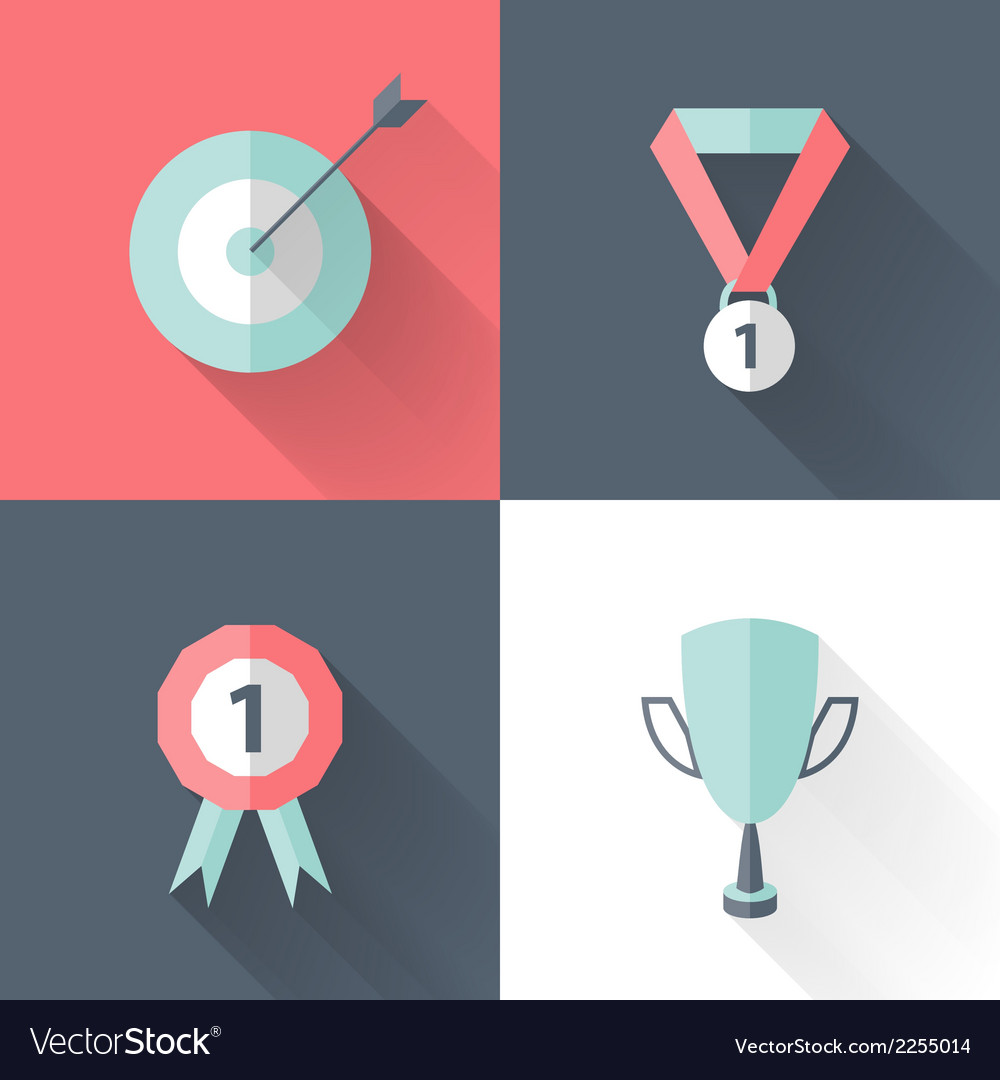 Flat career success icon set vector | Price: 1 Credit (USD $1)