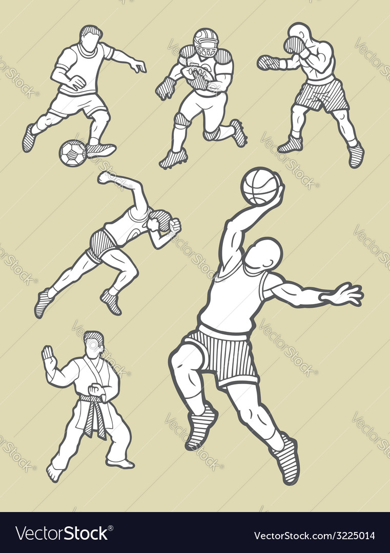 Male sport icons sketch vector | Price: 1 Credit (USD $1)