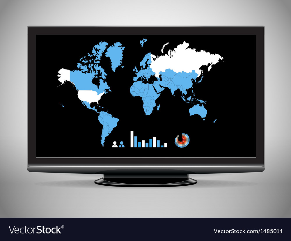 Modern tv with earth map and statistics vector | Price: 1 Credit (USD $1)