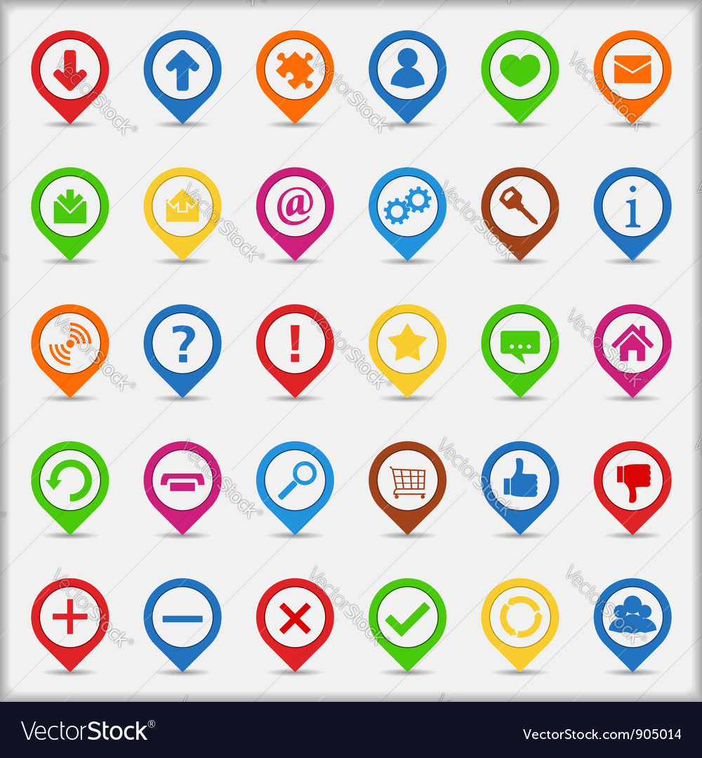 Pointers with icons vector | Price: 3 Credit (USD $3)