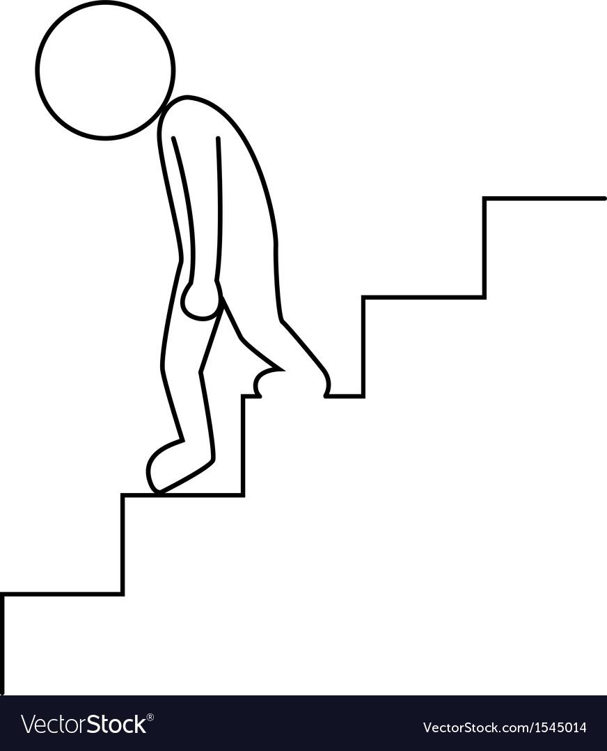 Sad businessman walking downstairs vector   Price: 1 Credit (USD $1)
