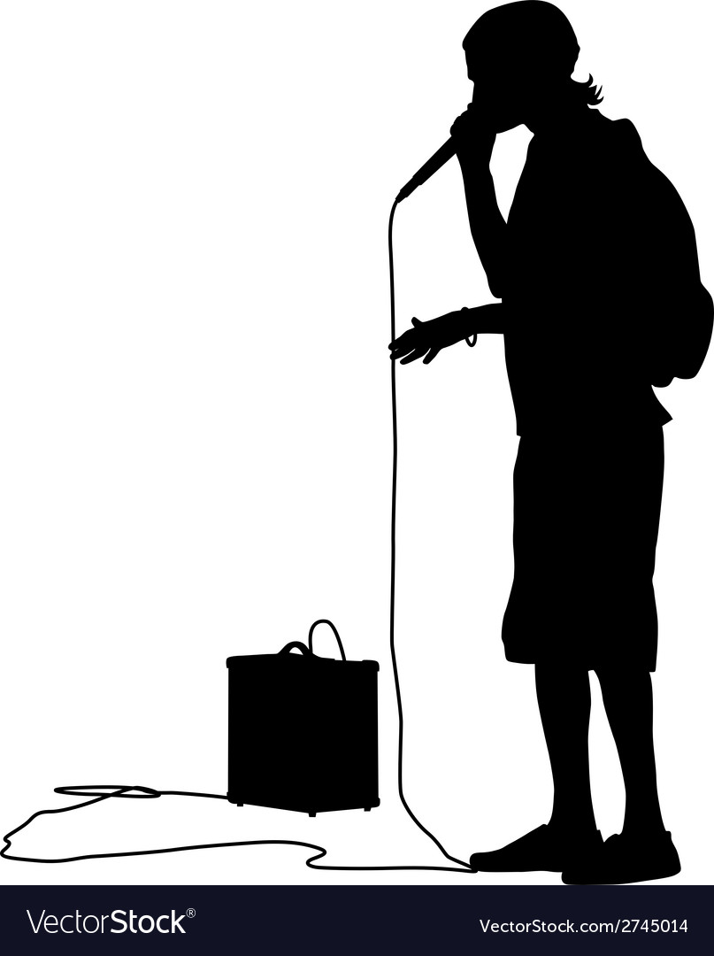 Silhouette of the guy beatbox with a microphone vector | Price: 1 Credit (USD $1)