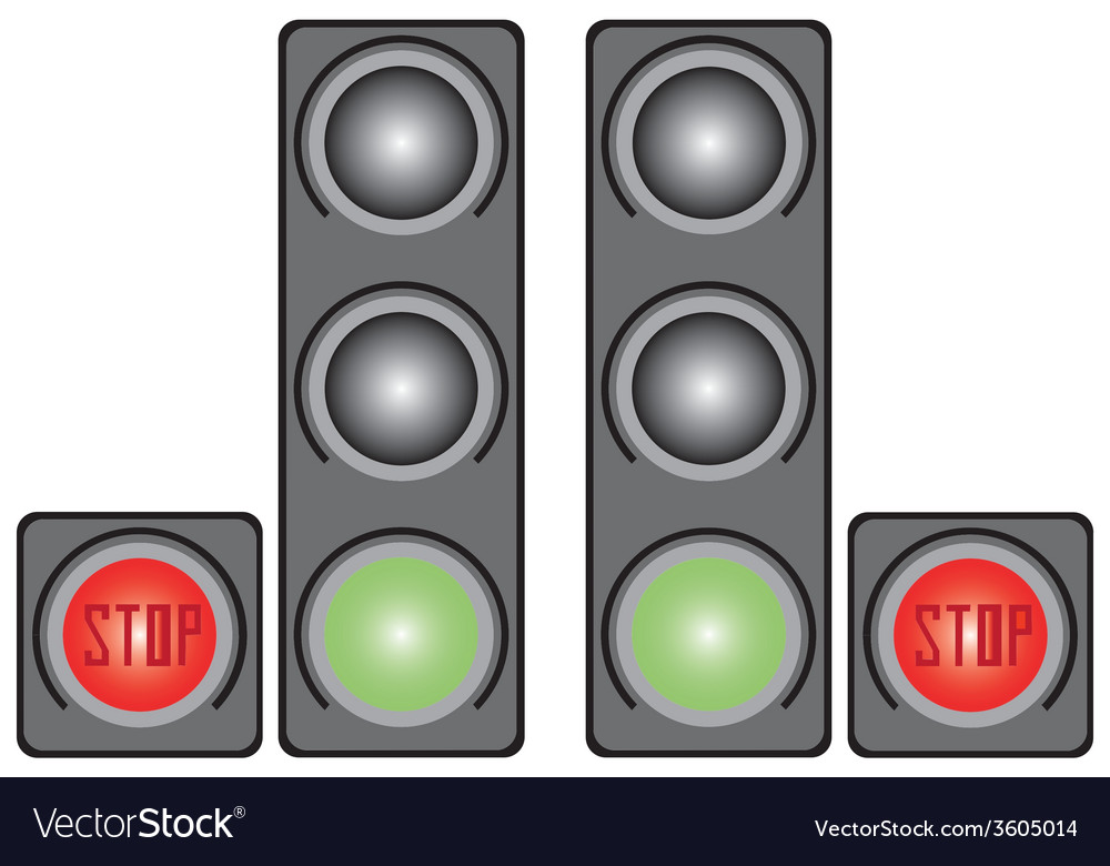 Traffic light with signs vector | Price: 1 Credit (USD $1)