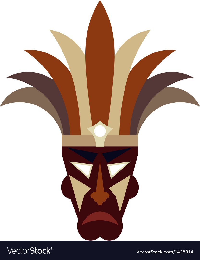 Tribal mask on a white background vector | Price: 1 Credit (USD $1)