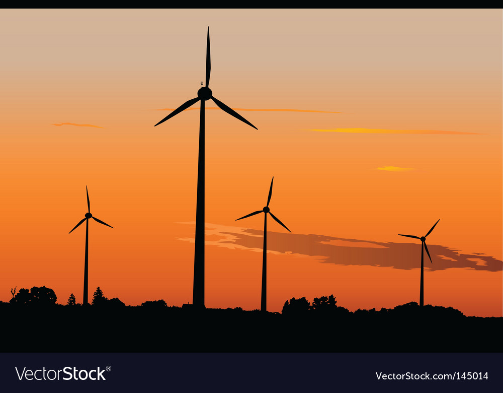 Wind generators in sunrise vector | Price: 1 Credit (USD $1)