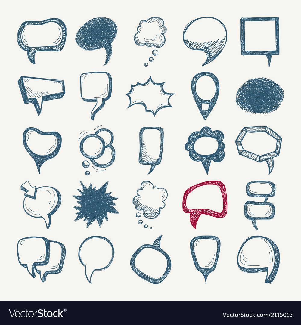 25 sketch different speech bubble collection vector